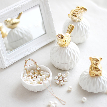 Nordic cute animal ceramic jewelry box wedding ring jewelry box earrings candy storage box wedding party gifts crafts