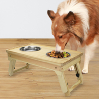 Adjustable Height Dog Bowl Wooden Pet Dog Bowl Stainless Steel Drinking Water Feeder Pet Bowl For