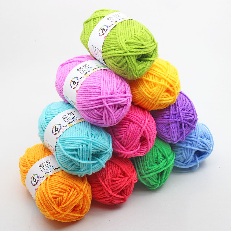 25g/pcs Colorful 4 PLY Combed Soft Baby Milk Cotton Yarn Fiber Velvet Yarn Hand Knitting Wool Crochet Yarn For DIY Sweater