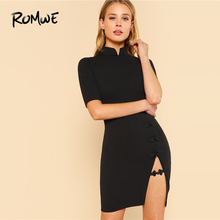 ROMWE Mandarin Collar Slit Front Dress 2019 Basic Black Short Sleeve Split  Summer Short Dress Fabulous 7fc9c7c85