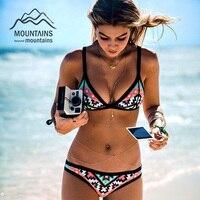 2016 Hot Design Retro Style Simple Model Brazilian Sexy Printing Swimsuit Bikinis Halter Padded Biquinis Feminino