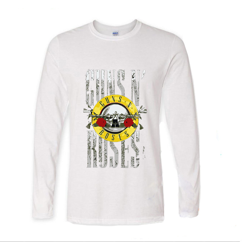 2017 New Arrive Funny Guns And Roses Hard Rock funny Long TShirts Long Sleeve T Shirt men