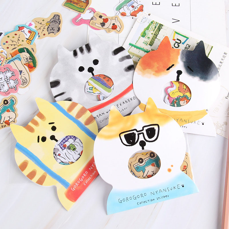30pcs Cute Stationery Stickers Kawaii Cat Stickers Colorful Paper Adhesive Stickers For Kids DIY Scrapbooking Diary Photo Albums