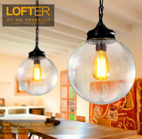 2016 new American country designer retro lamp simple dining room bedroom aisle single head glass Pandent lights