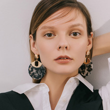 Bohemian Retro Round Acrylic Black Leopard Earrings for Women Exaggerated Personality Punk Big Drop Fashion Ear Jewelry