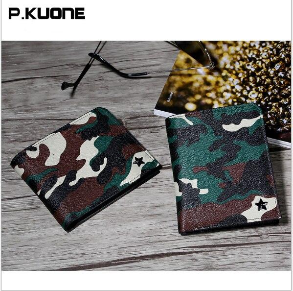 P.KUONE 2017  new fashion men short PU Credit Card wallet  simple retro camouflage Purses Multi Card Slots Bifold Money Clip new fashion wallet men wallet men retro