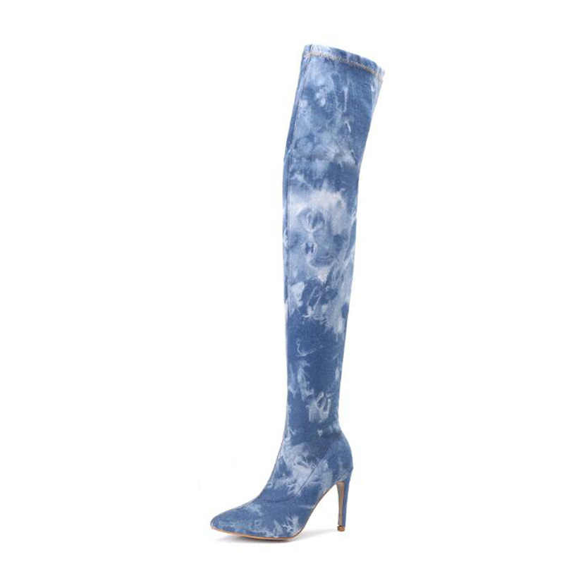 Sexy Women Over The Knee Boots Plus Size Hand made denim Woman Boots Round Toe Flat
