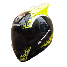 2017 recién llegado de Marca Malushun casco de la motocicleta Hombres cuernos de animales de Las Mujeres de la cara llena del casco casco de moto de Alta calidad casco