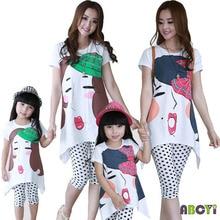 Одежда для мамы и дочки г. летний комплект для семьи Miss Castle Футболка с принтом+ леггинсы с узором в горошек Комплект из двух предметов A6015