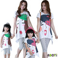 Mother and Daughter Clothes 2015 New Summer Family Sets Miss Castle Printed T Shirt + Polka Dot Legging Two Piece Outfits A6015