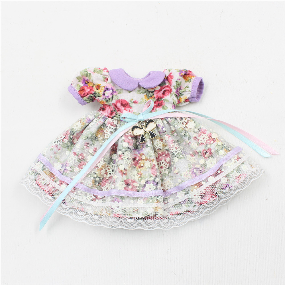 Neo Blythe Doll Vintage Floral Dress with Hairband 5