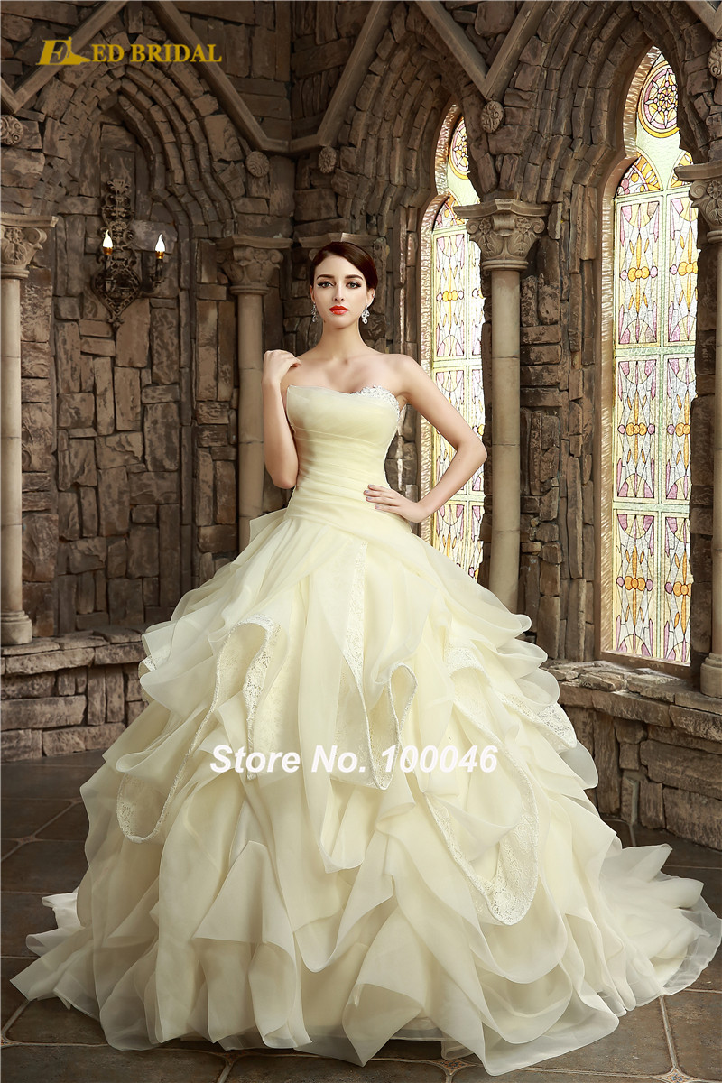 Robe De Mariee nique ruffled champagne color wedding gown 2015 ...