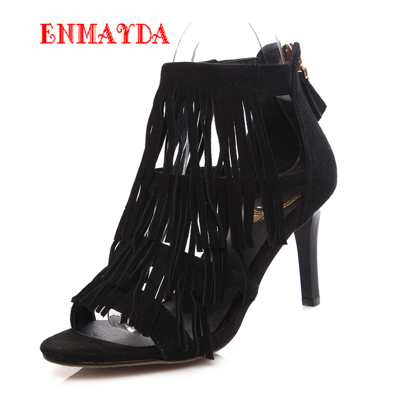 ФОТО  Summer Boots for Women New  Sheepskin Charm Zip Ankle Boots Black Apricot Cow Muscle Round Toe Fashion Sandals Boots