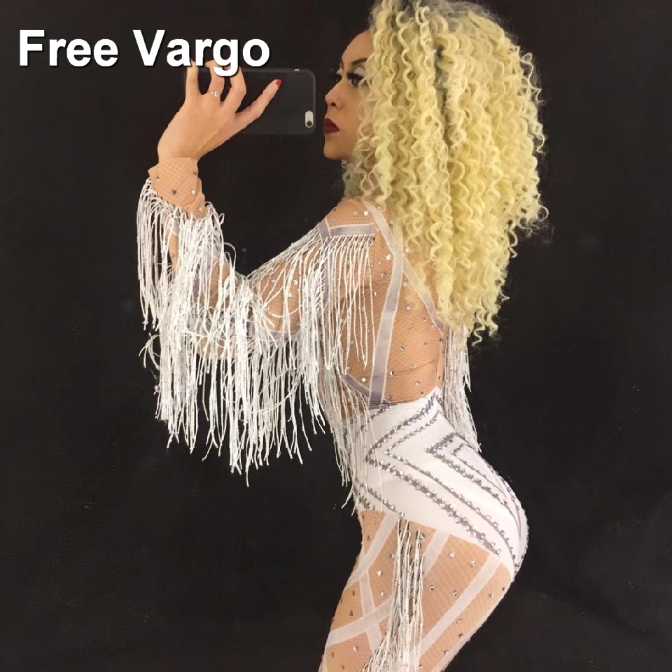Hologram Crystal Rhinestones Skinny Sexy Tassel Nude Jumpsuit Women 39 s Dance Wear Prom Outfit Costume Dance Party Stage Wear in Ballroom from Novelty amp Special Use