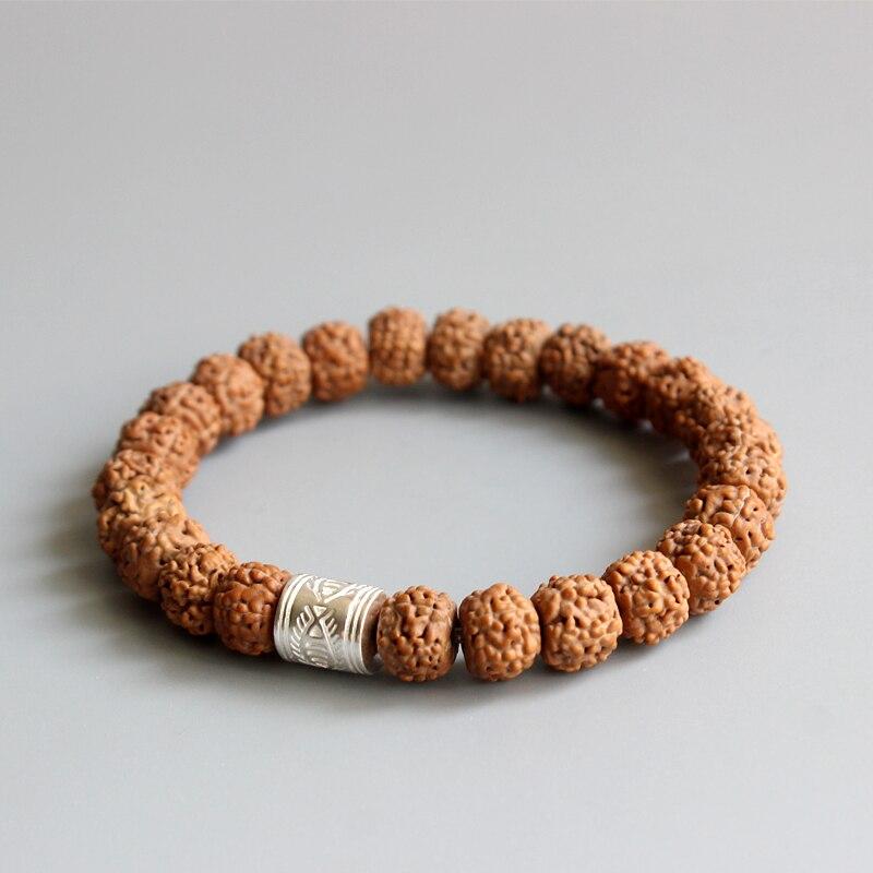 2016 New Fad Natural Rudraksha Seed Tibetan Buddhism Prayer OM Healing Mala Beads Bracelet For Men Women Yoga Jewelry Wholesale