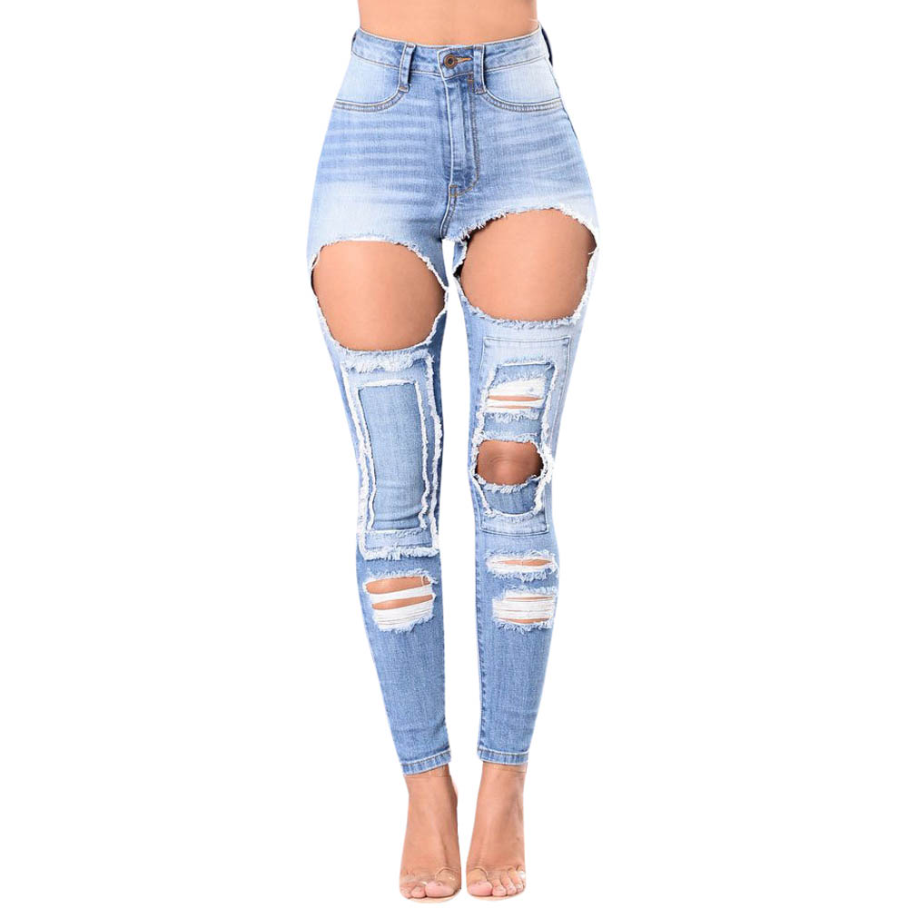 New 2017 Vintage Hole Ripped Jeans Women Casual Washed Stretchy Pencil Pants High Waist Jeans Slim Skinny Denim Jeans Plus Size autumn new fashion cotton jeans women loose low waist washed vintage big hole ripped long denim pencil pants casual girl pants