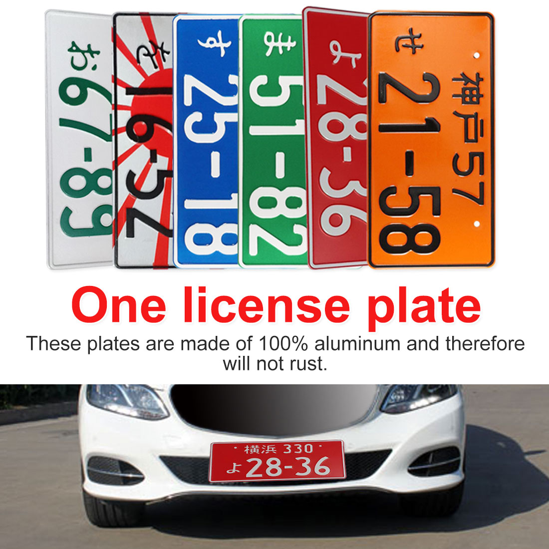 Universal Car Motorcycle Japanese License Plate Aluminum Tag For VW/Audi Bicycle Scooter Car Decoration