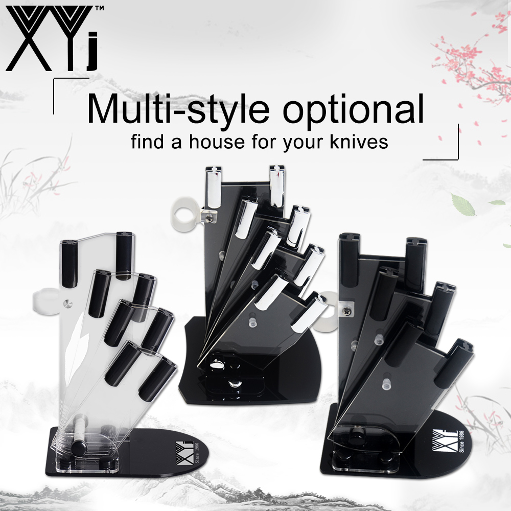 XYj New Design Kitchen Knives Block Ceramic Knife Stand Black Acrylic Multifunctional Cooking Knife Holder Chef Practical Tool