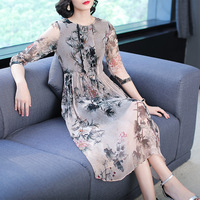 Silk Print Dress 2019 Summer New Retro Fashion Slim Party Dress Large Size S 2XL High Quality Elegant robe vestidos