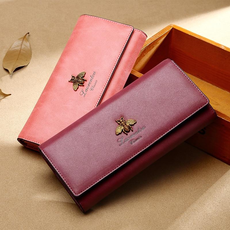 LAORENTOU Women Long Wallets Cow Leather Wallet Fashion Ladies Wallet Stylish Long Purse Clutch Bag for Women