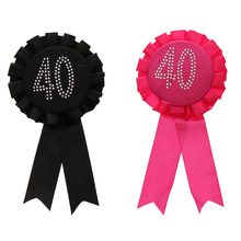 Hot Decorative Glitter rhinestone Number 18 21 30 40 50 60 Award Ribbon Rosette Badge Brooch Birthday Party Favour Black Rose