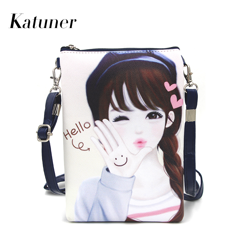 Katuner New Fashion Cute Bao Bao Girls Cartoon Leather Shoulder Bag Female Purse Mini Crossbody Bags For Women 2017 Sac KB012 bao bao fashion fresh floral girls shoulder bags female handbag canvas small crossbody bag for women sac a main bolsas b086