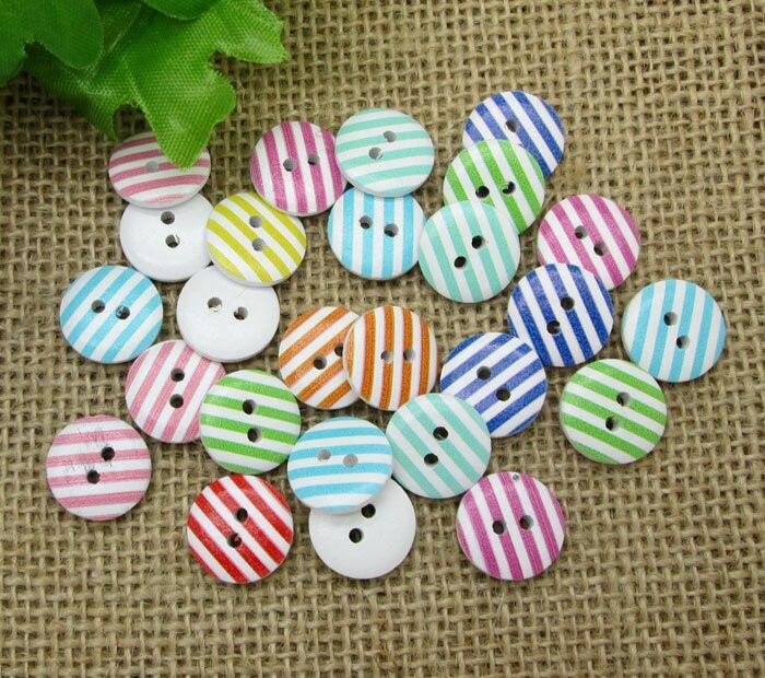 50 pçs misturadas listra redonda forma de madeira vestuário botões de costura para crianças roupas scrapbooking decorativo artesanato diy acessórios