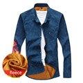 Мужчины Блузка 2016 Мода мужская Повседневная Рубашки Руно Зима Теплая Толстая Блузка Мужчина С Длинным Рукавом Camisa Masculina Плюс Размер 5XL