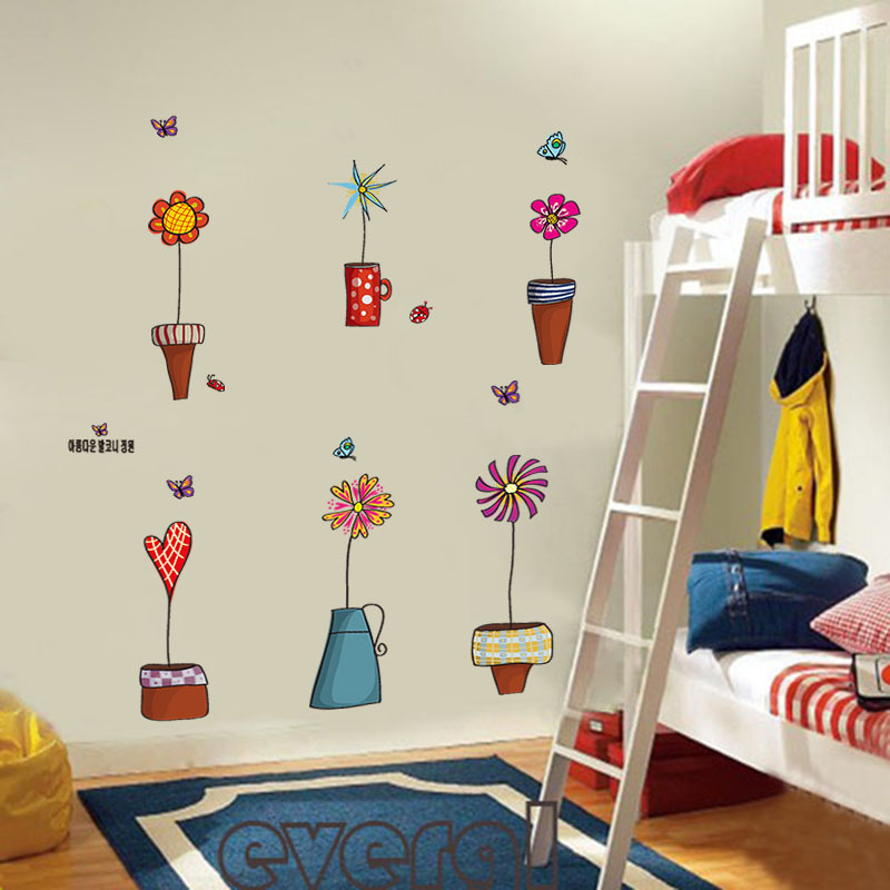 Flowerpot Erfly Wall Cover Stickers House Decoration 947 Diy Print Mural Art Plant Home Decals Kids Gift Living Bed Playroom In From