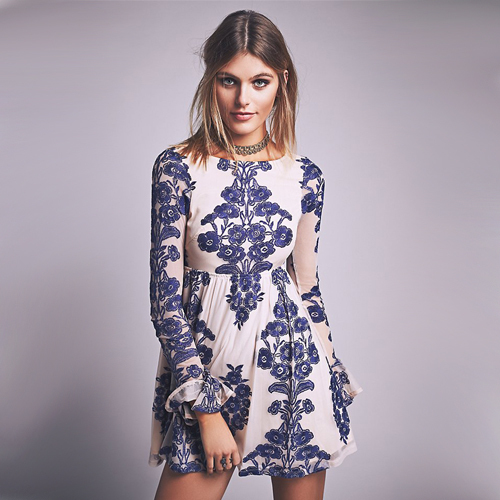 2018 Stylish Women Summer Flower Embroidered Slim Fit Short Dresses Hippie Boho People O Neck Elegant Autumn In From S Clothing