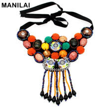 MANILAI Bohemian Statement Necklace Fashion Resin Ceramic Long Beads Tassels Pendants Necklaces Vintage Ethnic Collar Choker Big(China)