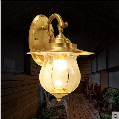 Outdoor Light Wall lamp full copper American glass lampshade aisle corridor garden lights outdoor waterproof balcony CL ...