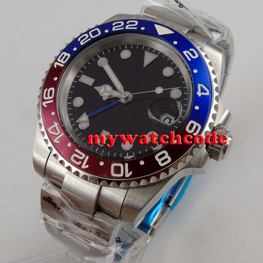 40mm bliger black dial GMT sapphire glass automatic mens watch red blue bezel P17540mm bliger black dial GMT sapphire glass automatic mens watch red blue bezel P175
