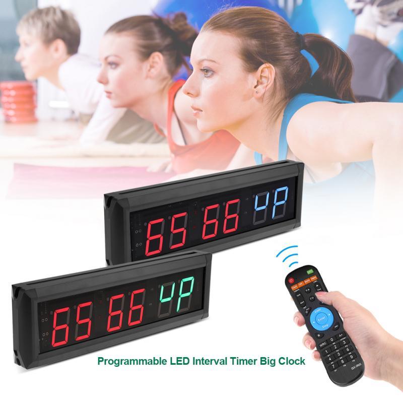 220V 1 8 Programmable Clock LED Digital Clock Interval Timer Big Stopwatch Home Gym Fitness clock