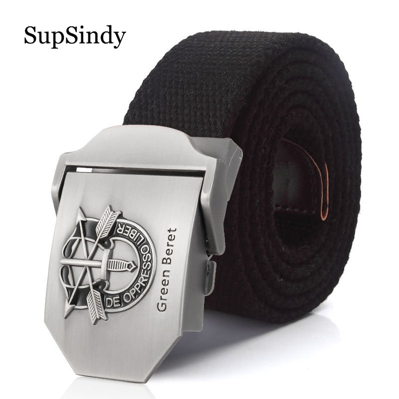 SupSindy Men&Women Military Canvas Belt Luxury Green Beret Metal Buckle Jeans Waist Belt Army Tactical Belts For Men Strap Male