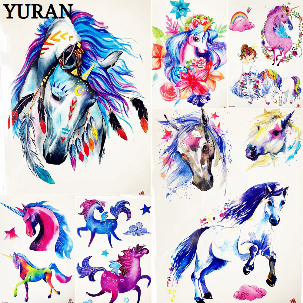 Cartoon Blue Unicorn Fairy Tales Temporary Tattoo For Children Kids Waterproof Flash Tattoo Sticker Girl Baby Body Art Horse