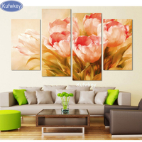 3pcs pink tulip plant diy diamond painting square drill diamond embroidery mosaic modern flower home decoration 3d painting art
