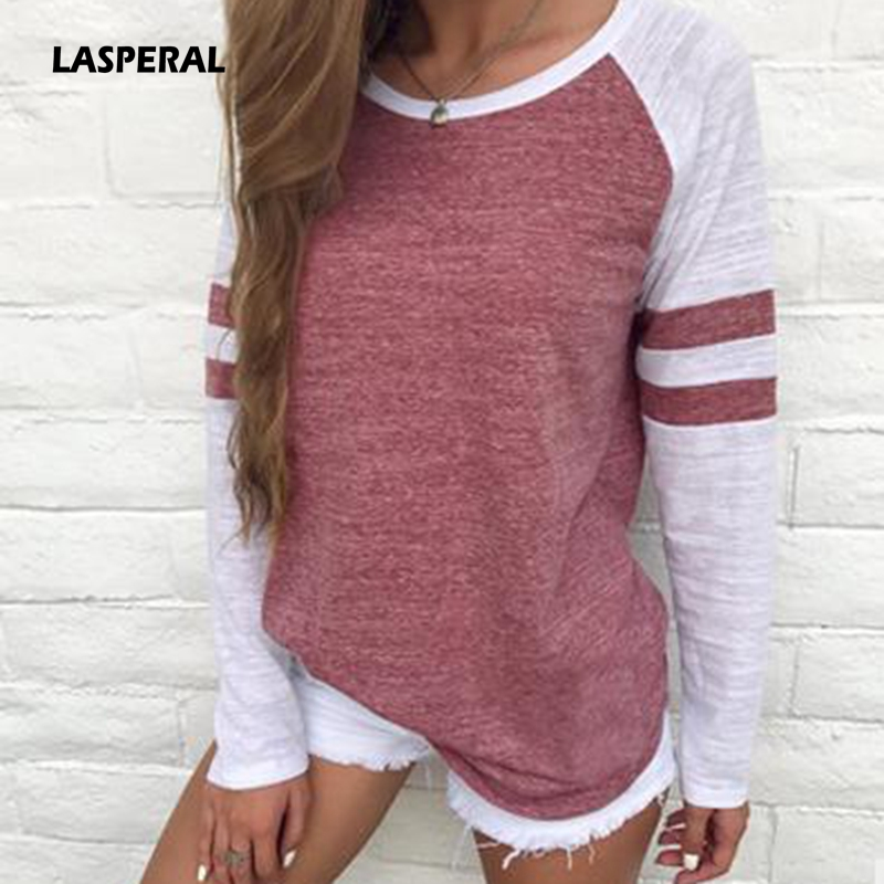LASPERAL Women Striped Splicing Baseball Tshirt 2018 Spring Autumn O Neck Long Sleeve Top Tees All Matched T Shirt Plus Size 5XL