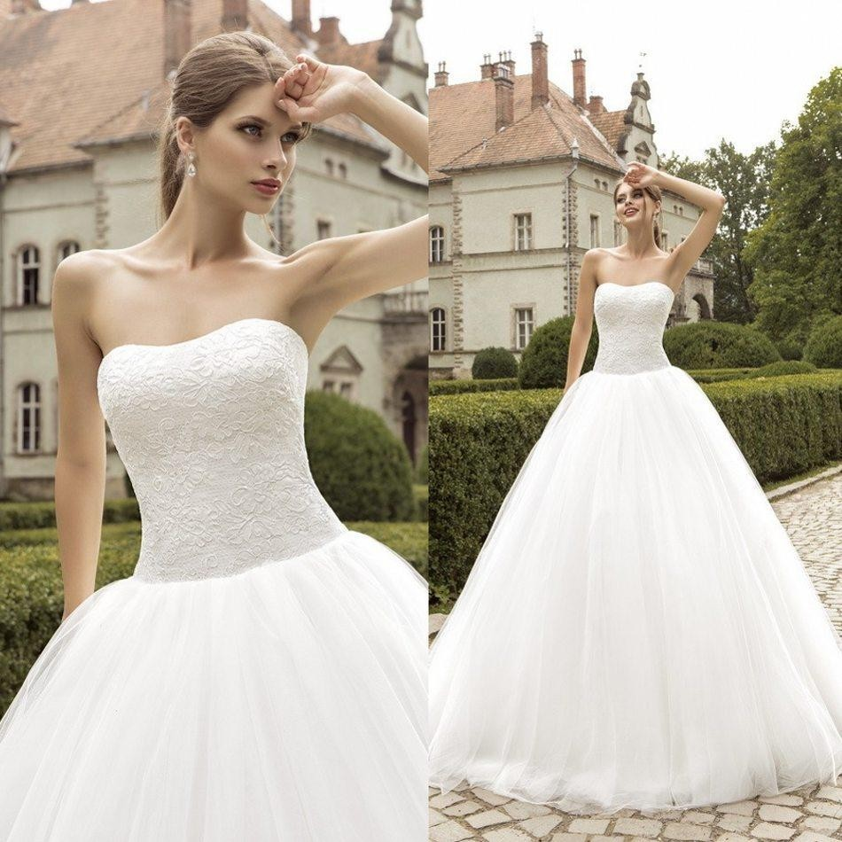 Bride Gowns 2015: Aliexpress.com : Buy Strapless Lace Applique Ball Gowns