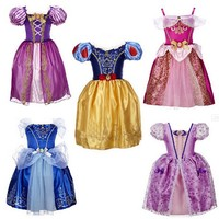 2016 New Cosplay Costume Girls Cinderella Dress Baby Party Dress Princess Dress Cinderella Costume Free Shipping
