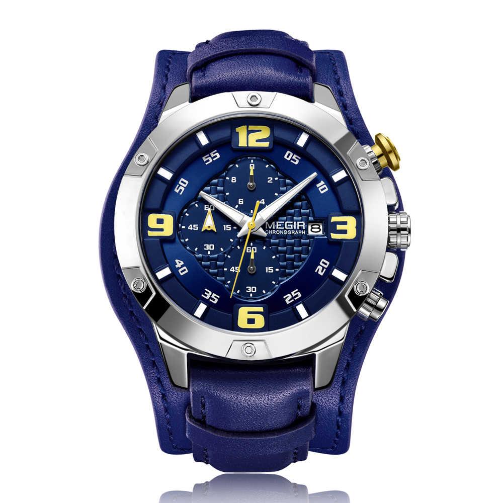 Reloj con cronógrafo MEGIR de lujo para hombre, reloj deportivo, reloj Masculino, de cuero azul, de negocios, reloj de cuarzo, reloj militar para hombres