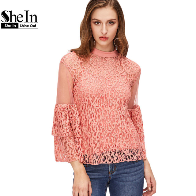 SheIn Ladies 2 Piece Sets Women Set Clothing Pink Three Quarter Length Layered Bell Sleeve Sheer Lace Top With Cami