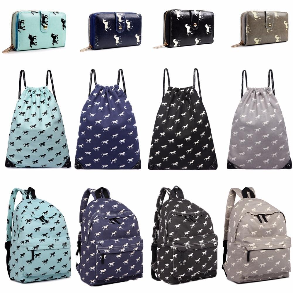 Horse Canvas Backpacks School Bags For Teenagers Girls Boys Shoulder Rucksack