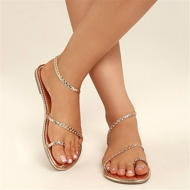 Plus Size Thong Sandals Summer Women Flip Flops Weaving Casual Beach Flat With Shoes Rome Style Female Sandal Low Heels Shoes