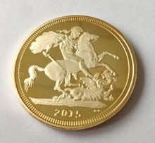 30pcs/lot, UK British Sovereign Coin, 2015 St George slaying Dragon Reverse GOLD CLAD COIN, Metal coins free shipping
