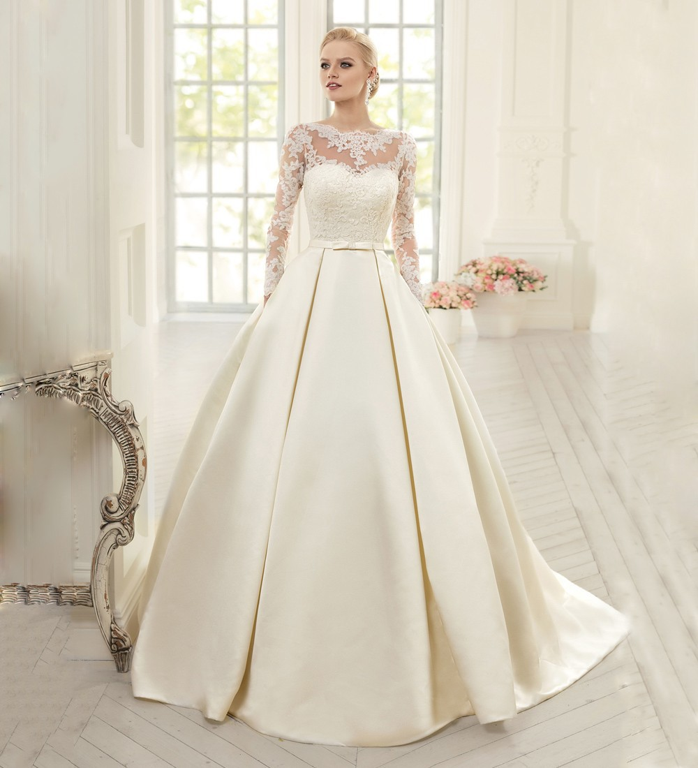 Full Sleeve Wedding Gown: 2016 Wedding Dress New Arrival Style A Line O Neck Lace Up