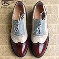 Couro genuíno Grande Mulher Tamanho EUA 10 Desenhador Do Vintage Plana sapatos Dedo Do Pé Redondo Artesanal preto Creepers Sapatos Oxford Para As Mulheres pele