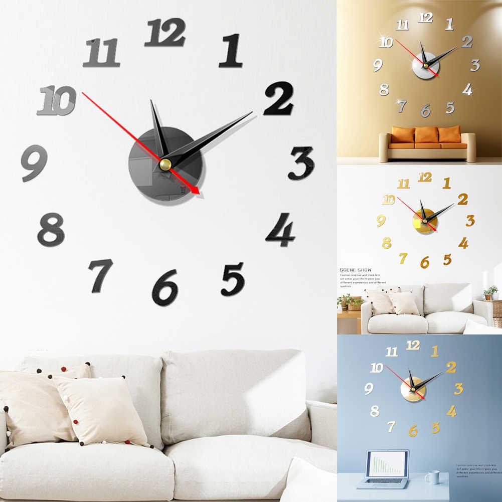 Reloj de pared grande Digital moderno adhesivo 3D con espejo reloj de Número grande único arte 3D DIY decoración acrílica para el hogar Oficina habitación de los niños