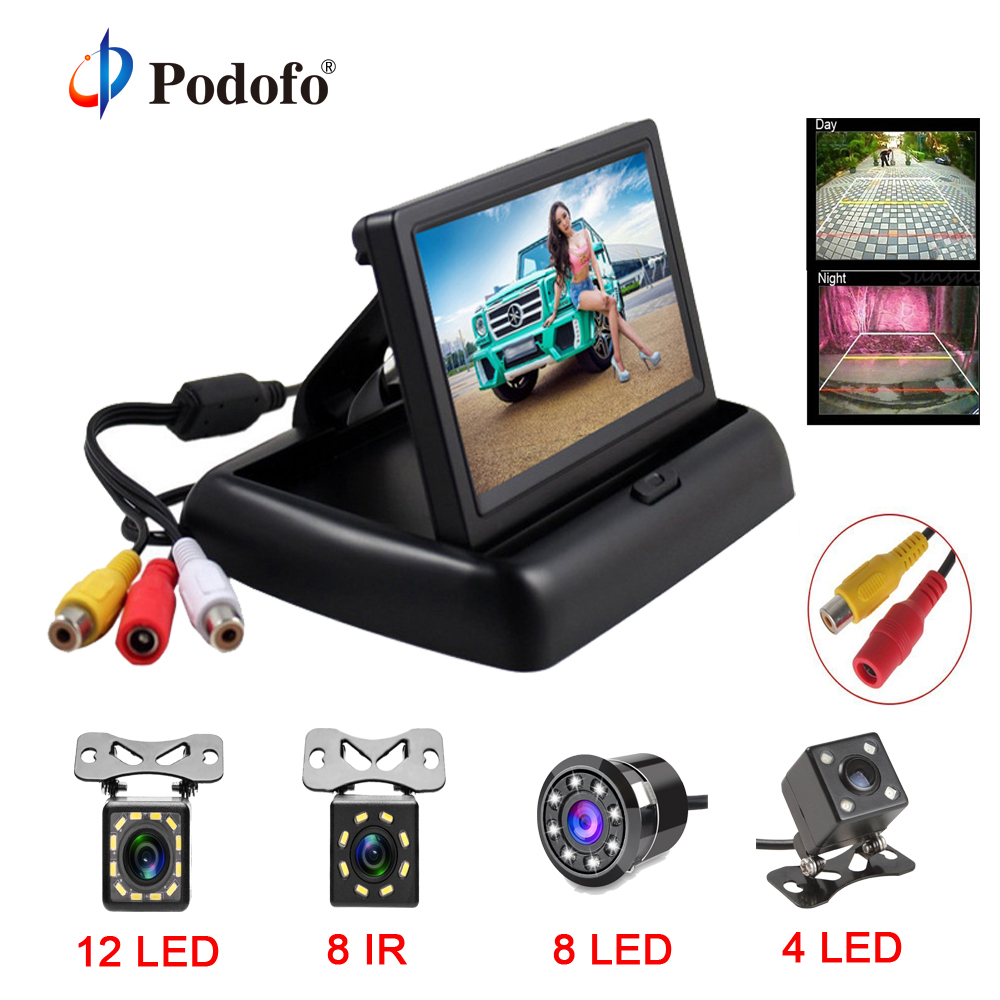 Podofo 4.3 inch HD Foldable Car Rear View Monitor Reversing LCD TFT Display with Night Vision Backup Rearview Camera for Vehicle