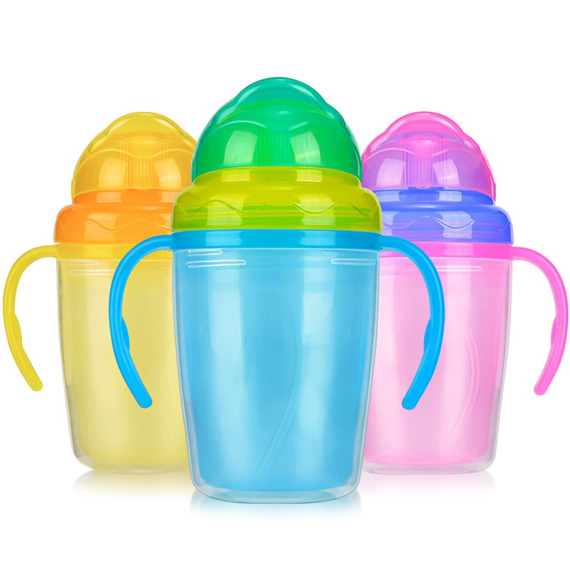 Baby straw water bottles double insulation learn feeding drinking silicone handles Children baby bottle cups baby cup